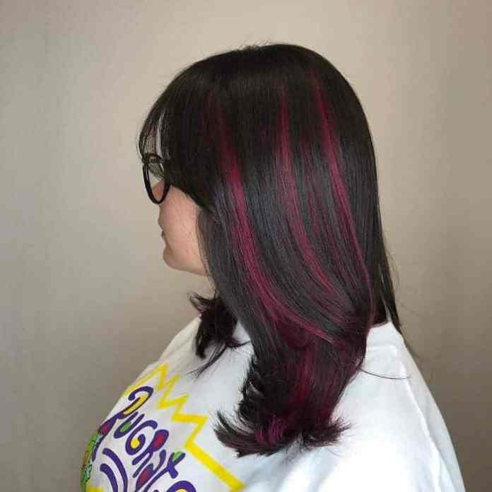 Burgundy-Highlights Gorgeous Black Hairstyles with Highlights
