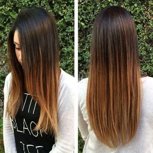 Caramel-Ombre Enthralling Long and Straight Hair Ombre for Women