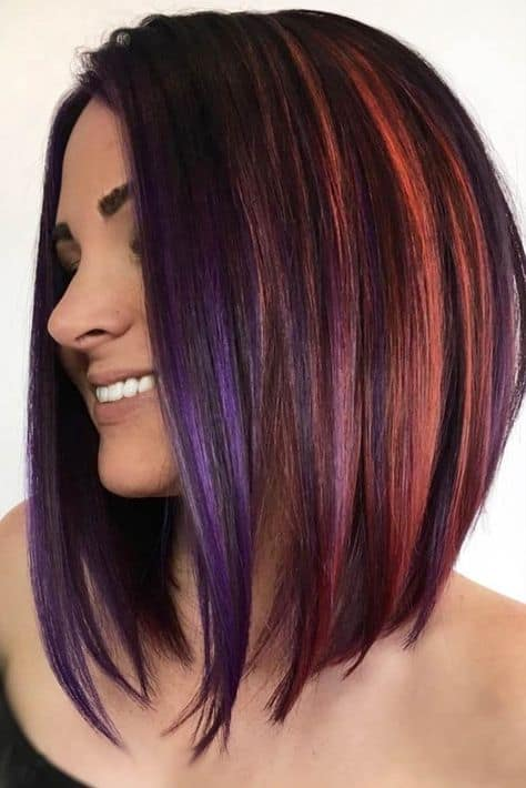 Colorful-Highlights Amazing Medium Length Bob Hairstyles to Explore