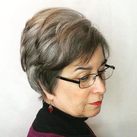 Cool-Pixie-with-Top-Volume 10 Flattering and Stylish Hairstyles for Women over 50 with Glasses