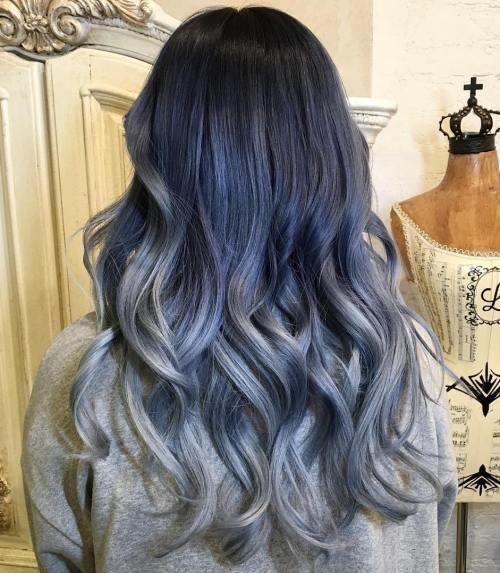 Cool-Toned-Ombre-Hair 14 Eye-catching Blue Ombre Hairstyles