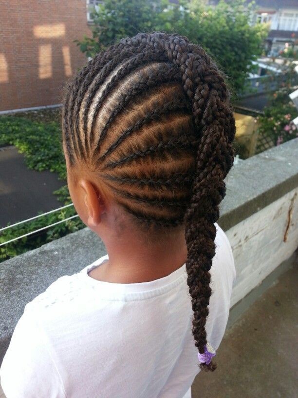 Cornrows-with-a-Chunky-Central-Braid Cutest Braided Hairstyles for Little Girls Right Now