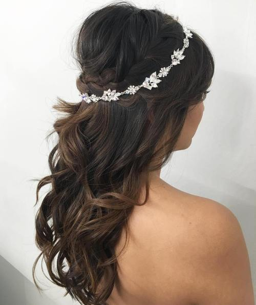 Crown-Braid-Bouffant-and-Headpiece 15 Stylish Half Up Half Down Wedding Hairstyles for Brides