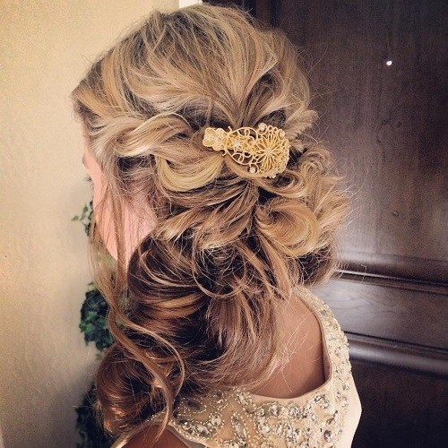 Curls-Clipped-to-the-Side 15 Stylish Half Up Half Down Wedding Hairstyles for Brides