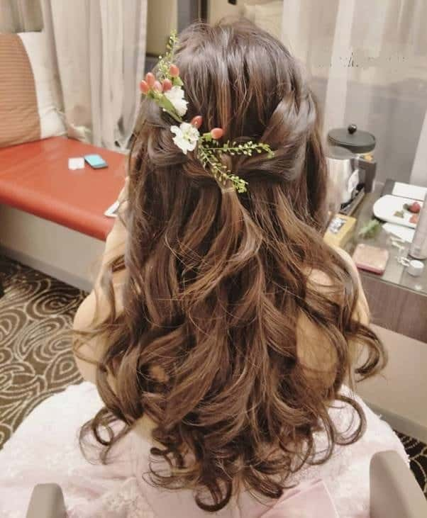 Curly-Half-Up-Hair Bewitching Brunette Ombre Hair Ideas (2020 Guide)