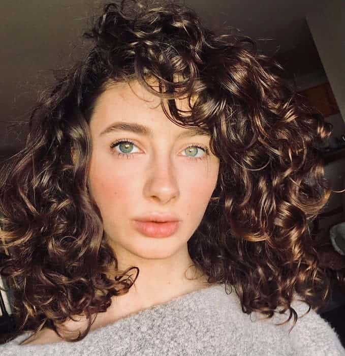 Curly-Lob-with-Bangs Bob With Side Bangs You'll Want to Copy 2020