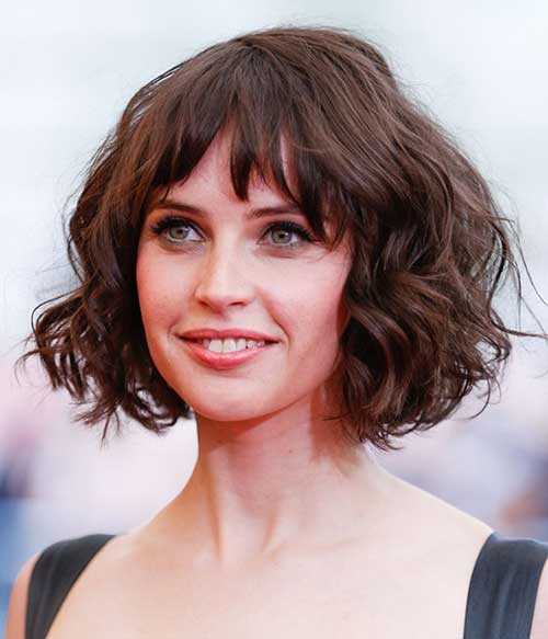 Curly-bob-with-asymmetrical-bangs- Captivating Inverted Bob Hairstyles That Can Keep You Out of Trouble