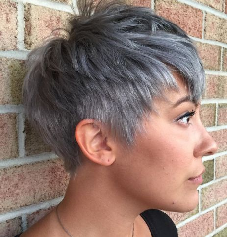 Cute-Choppy-Gray-Pixie 14 Flattering Pixie Cuts That Will Inspire your next cut