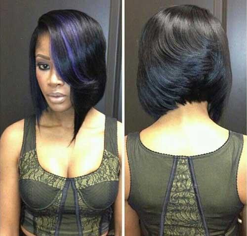 Dark-Blue-Lighted-Bob-Haircut-for-Black-Women Nice Short Bobs for Black Women