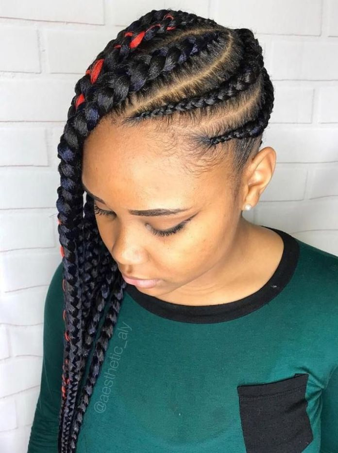 Deep-Red-Highlighted-Braided-Hair Most Coolest and Fabulous Feed in Braids