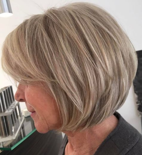 Dishwater-Blonde-Layered-Bob Hairstyles for Women Over 60