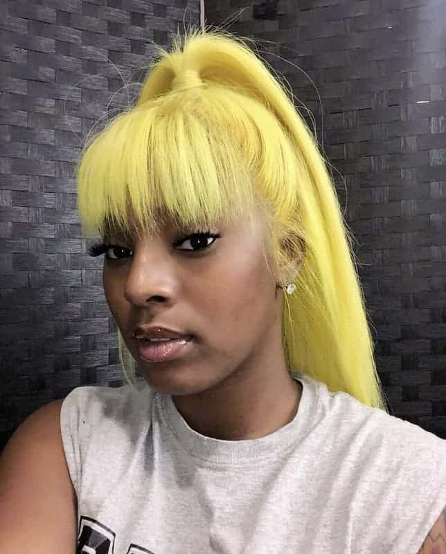 Electric-Yellow Stunning Ponytail Hairstyles for Black Women