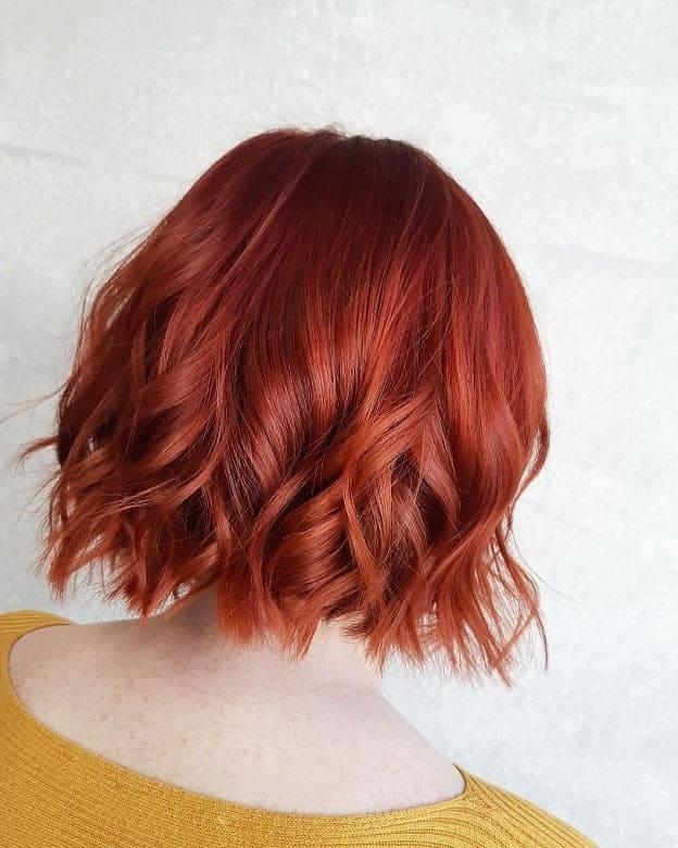 Fiery-Red-Bob Flattering Wavy Bob Hairstyles for Women