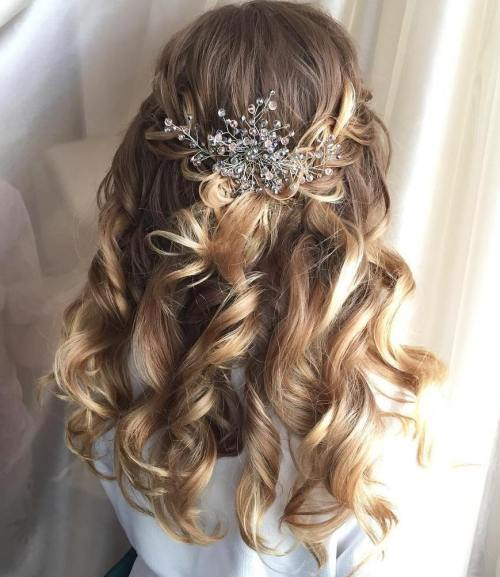 Golden-Half-Up-Half-Down-Curls 15 Stylish Half Up Half Down Wedding Hairstyles for Brides