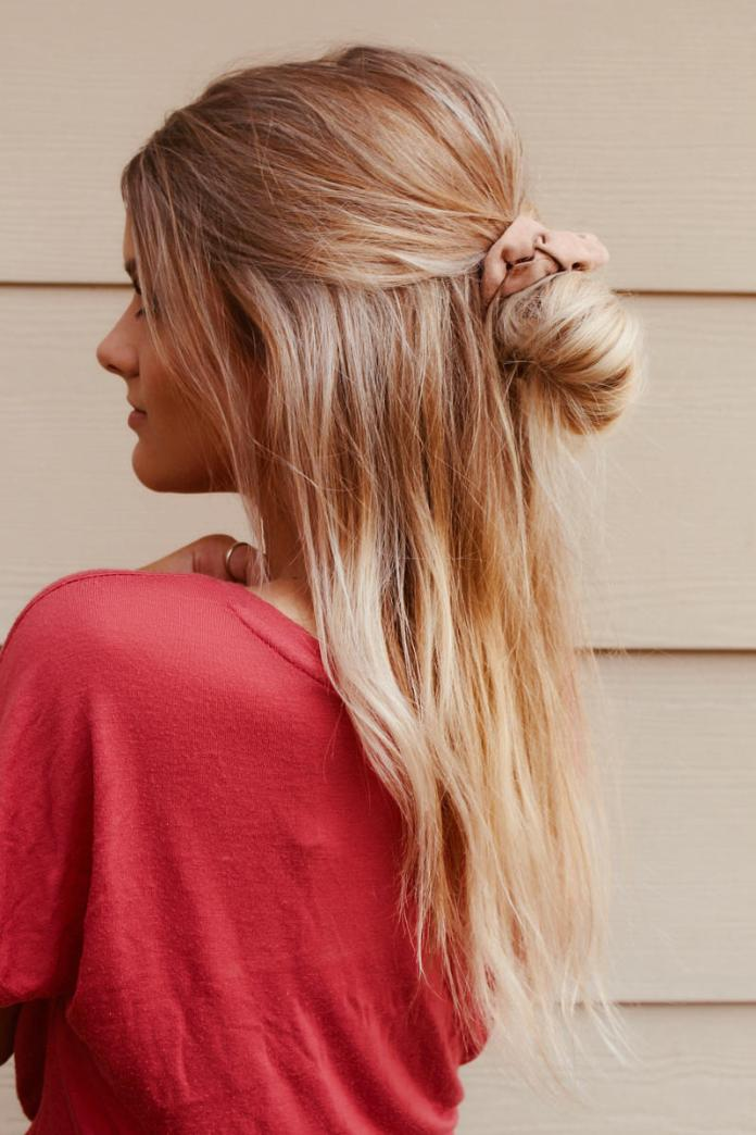 Half-Bun-with-Scrunchies Dazzling Straight Hairstyles for a Diva Look