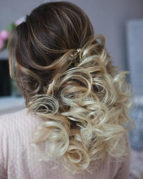 Half-Up-Blonde-Ombre-Curls 15 Stylish Half Up Half Down Wedding Hairstyles for Brides