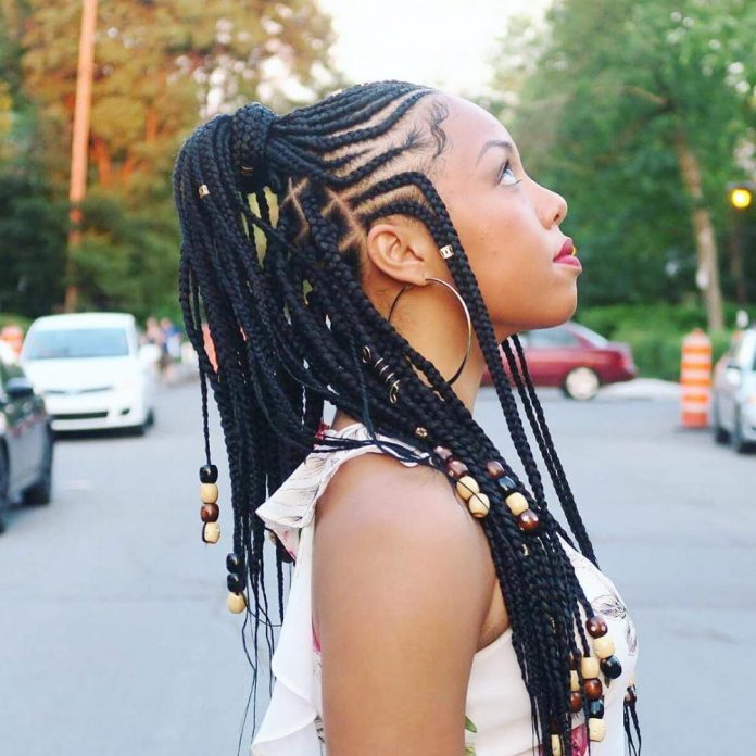 High-Ponytail-Braids-with-Beads Most Coolest and Fabulous Feed in Braids