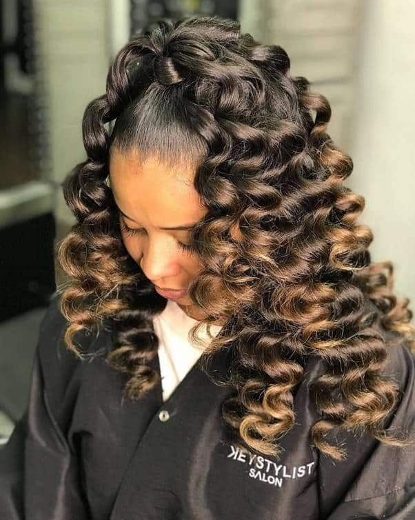 High-Ponytail-with-Weave Bewitching Brunette Ombre Hair Ideas (2020 Guide)