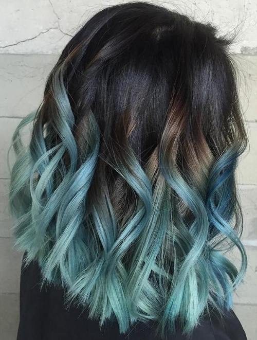 Icy-Blue-Lob 14 Eye-catching Blue Ombre Hairstyles