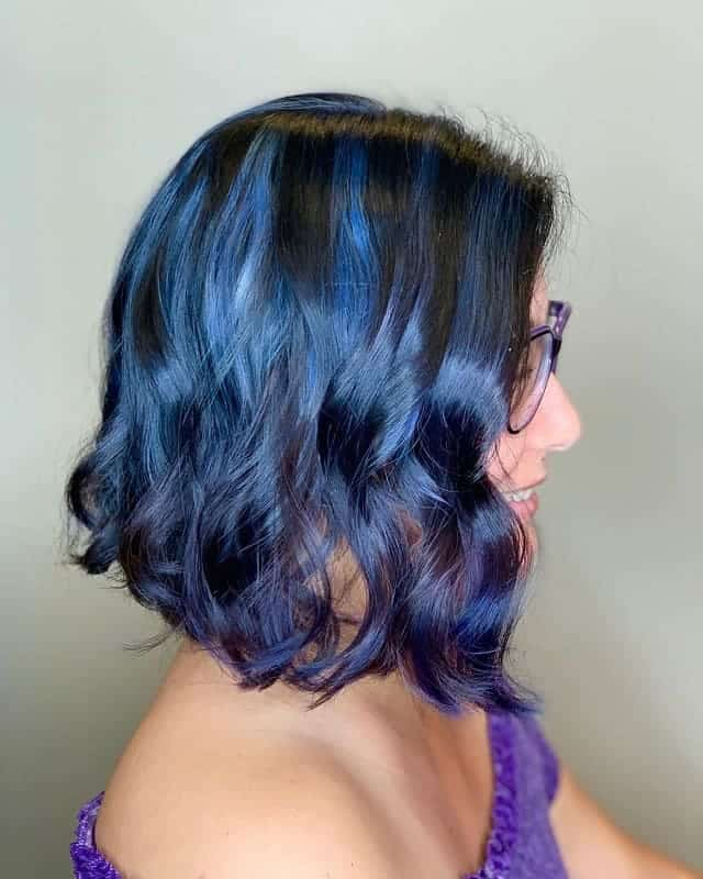 Light-Blue-Hair-Color Gorgeous Black Hairstyles with Highlights