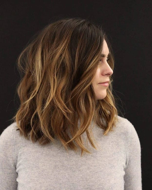 Long-Bob-with-Highlights Flattering Wavy Bob Hairstyles for Women