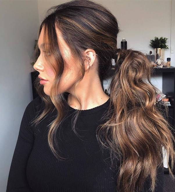 Low-and-Messy-Ponytail Bewitching Brunette Ombre Hair Ideas (2020 Guide)