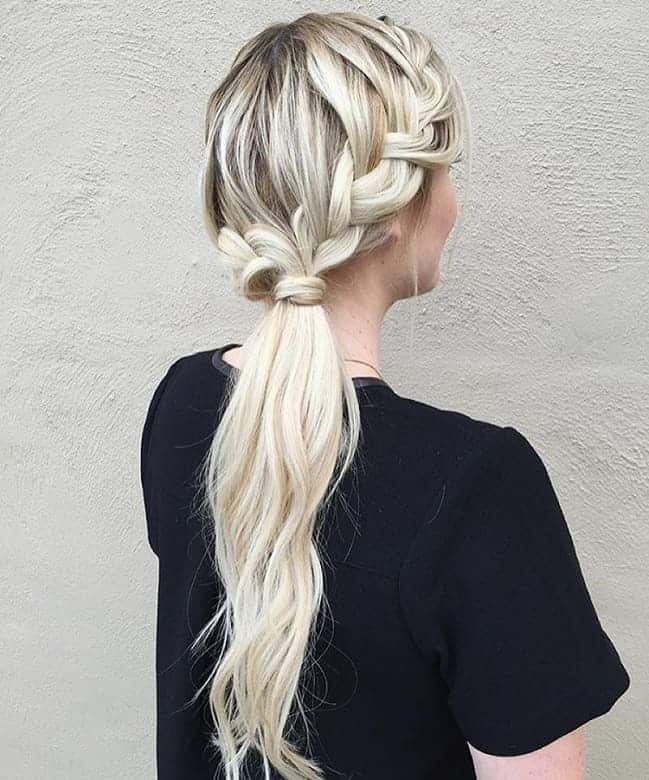 Messy-Braided-Ponytail Icy Blonde Hairstyles That'll Convince You to Go White