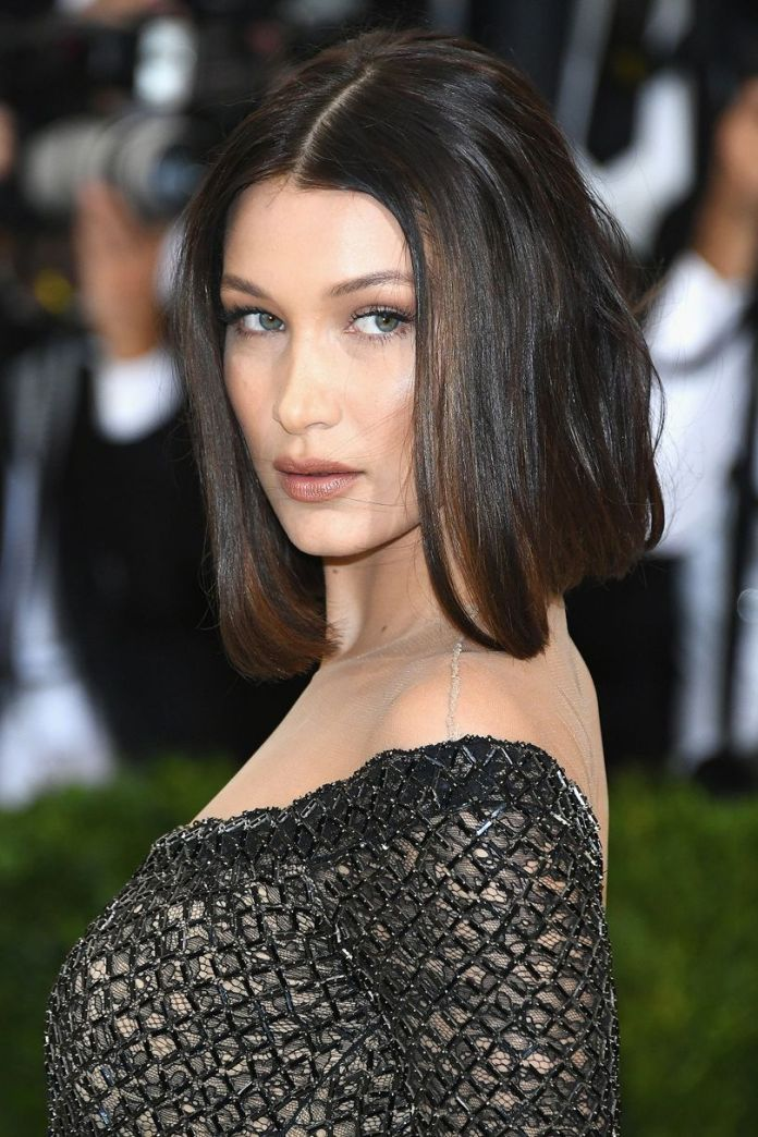 Middle-Parted-Brunette-Hair Most Hottest and Sexiest Long Bob Haircuts