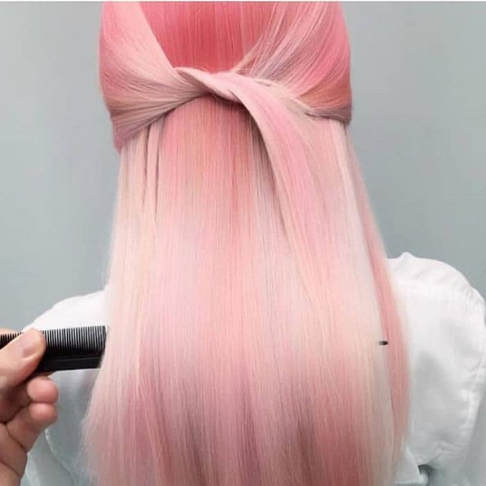 Multidimensional-Pastel-Pink-Hair Enthralling Long and Straight Hair Ombre for Women