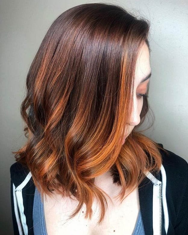 Orange-Balayage-on-Copper-Hair Balayage Highlights: Top 10 Styles to Brighten Your Look