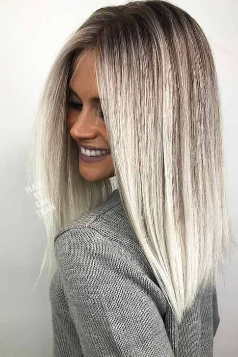 Platinum-Blonde-Ombre-Straight Enthralling Long and Straight Hair Ombre for Women