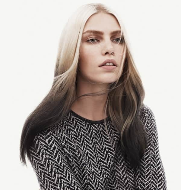 Platinum-to-Black-Smokey-Ombre Enthralling Long and Straight Hair Ombre for Women