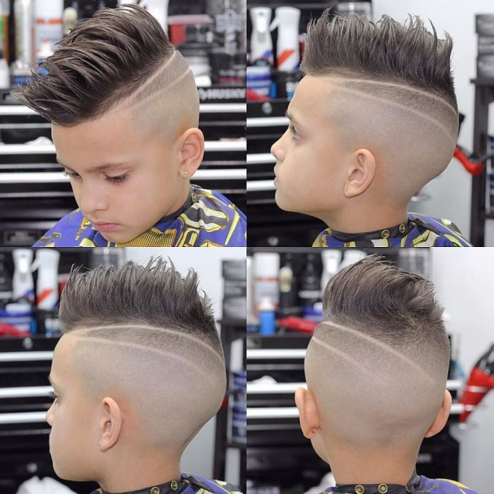 Pompadour-Spikes-with-Side-Design Cute Haircuts for Boys for Charming Look