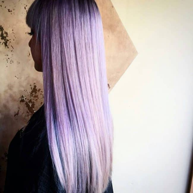 Purple-Ombre Enthralling Long and Straight Hair Ombre for Women