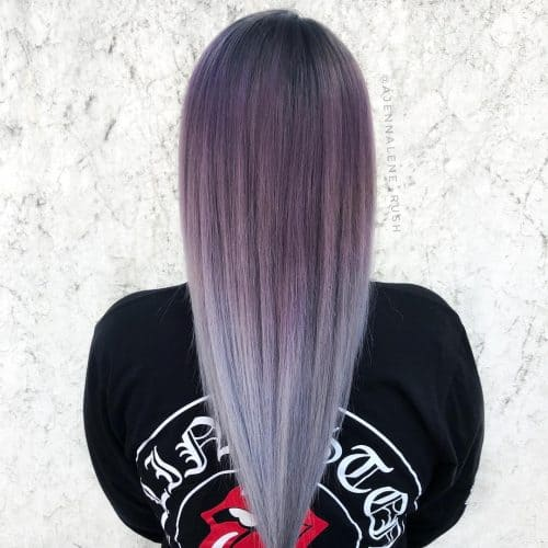 Purple-to-Silver-Ombre Enthralling Long and Straight Hair Ombre for Women