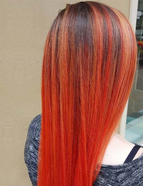 Red-Orange-Ombre Enthralling Long and Straight Hair Ombre for Women