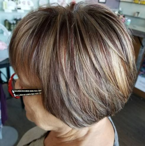Short-Layered-Bob-for-Straight-Hair Hairstyles for Women Over 60