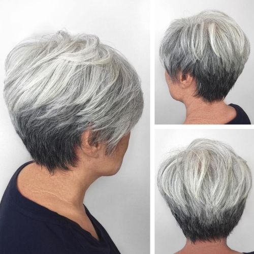 Silver-and-Black-Tapered-Pixie Hairstyles for Women Over 60