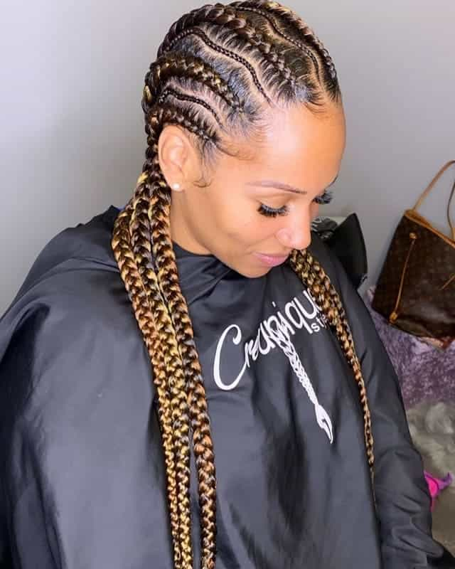 Stitch-Braids Gorgeous Black Hairstyles with Highlights