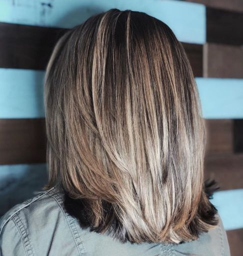 Straight-Layered-Cut-with-Bright-Balayage Gorgeous haircuts for thick hair of medium length in 2020