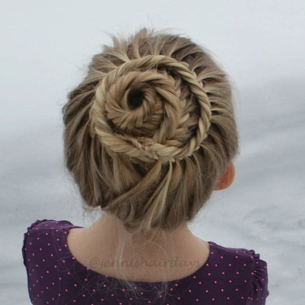 The-Fishtail-Braided-Bun Cutest Braided Hairstyles for Little Girls Right Now