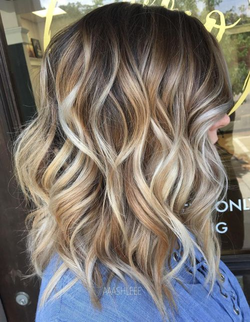 Wavy-Shoulder-Length-Cut-with-Layers Gorgeous haircuts for thick hair of medium length in 2020