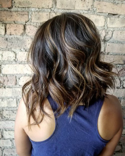 asymmetrical-lob-with-beach-waves 13 On-trend Bobs and their variations in 2020