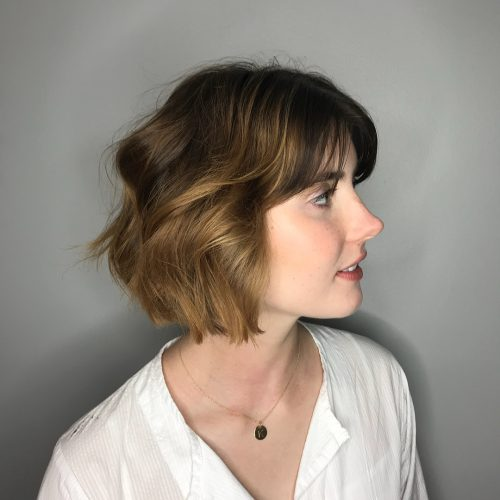wavy-bob-with-fringe 13 On-trend Bobs and their variations in 2020
