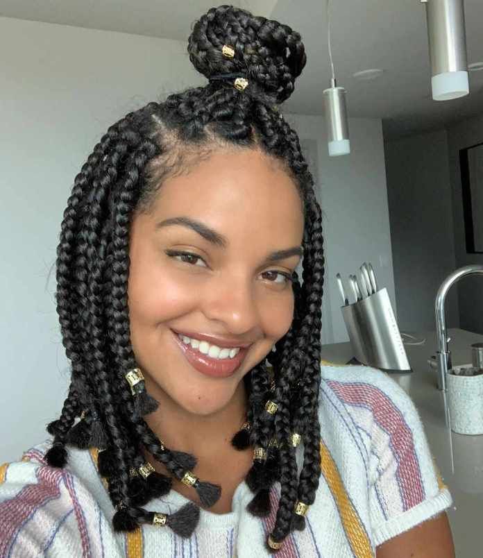 African-Braid-with-Knot Most Amazing Medium Braided Hairstyles