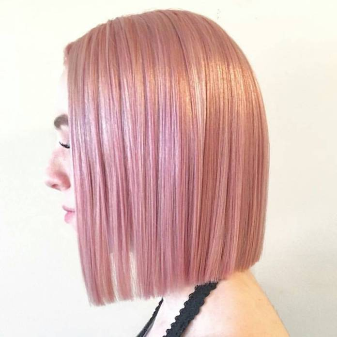 Blunt-Hairstyle-in-Light-Pink-Color Most Coolest Medium Hairstyles with Color