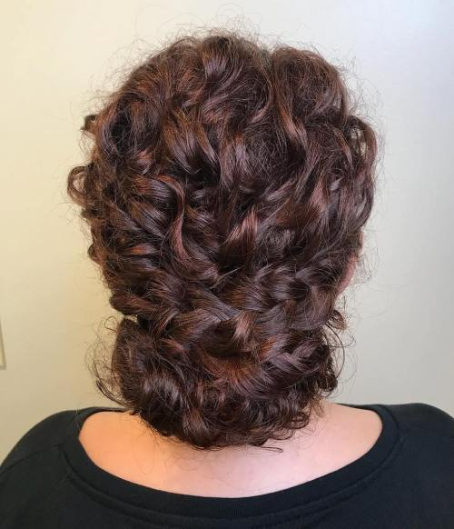 Chignon-with-Curly-French-Braids 10 Eye-catching Braids for Curly Hair of Different Types