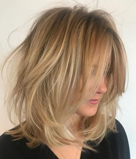 Choppy-Dishevelled-Lob-Hairstyle 14 Mind-Blowing Haircuts for Thin Hair