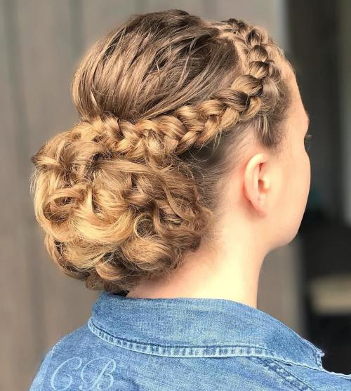 Crown-Braid-with-Low-Bun-for-Curly-Hair 10 Eye-catching Braids for Curly Hair of Different Types