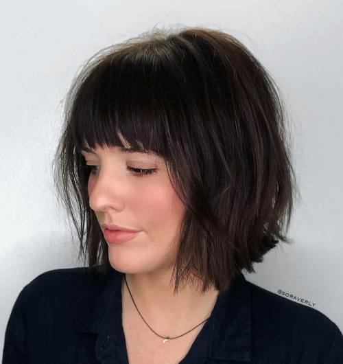 Dark-Messy-Bob-with-a-Fringe 15 Hottest bobs hairstyles to try in 2020